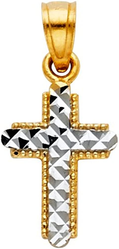 14K Two Tone Gold Cross Pendant with 2mm Figaro 3+1 Chain Chain Necklace