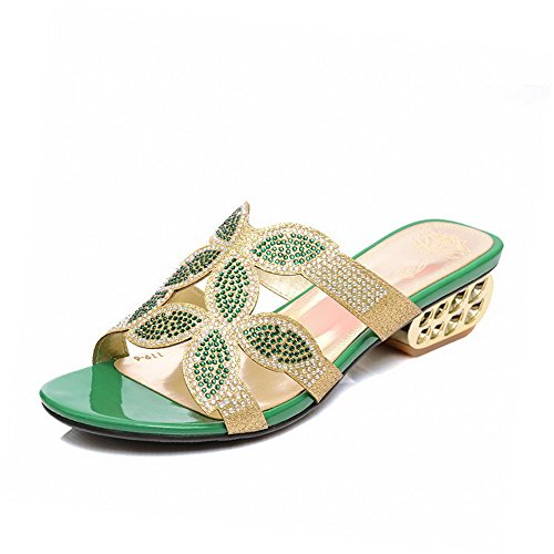 Allhqfashion Donna Mix Di Materiali Solidi Sandali Open Toe Open Toe Con Tacco Basso Verde