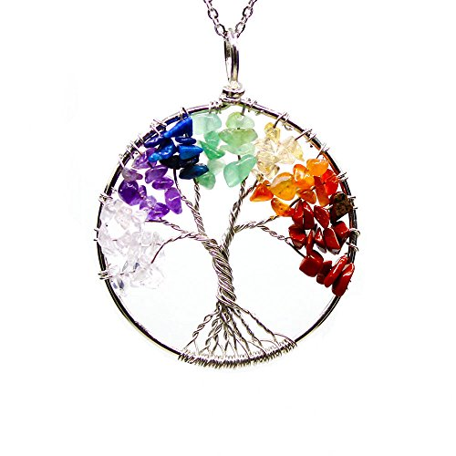 "Chakra Crystal Tree of Life Necklace 30"" Chain. Wire Wrapped Reiki Balancing Gemstone Jewelry Gift"