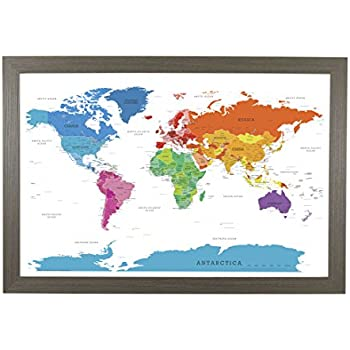 amazon com push pin travel maps executive world with barnwood gray