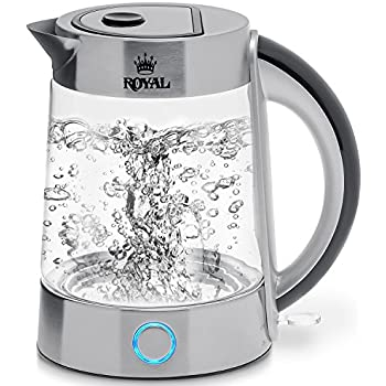 Royal Electric Kettle (BPA Free) - Fast Boiling Glass Tea Kettle (1.7L) Cordless, Stainless Steel Finish Hot Water Kettle – Glass Tea Kettle, Tea Pot – Hot Water Dispenser