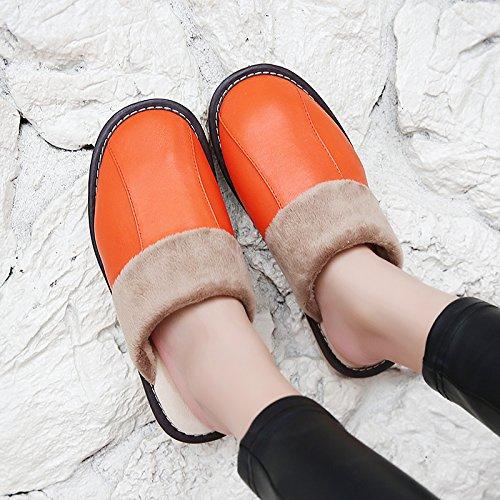 Soggiorno fankou Autunno Inverno cotone pantofole indoor uomini e donne coppie home pavimenti in legno caldo e pantofole inverno gancio ,41-42, rosso arancione