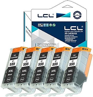 LCL PGI-555 XXL PGBK (5-Pack PGBK) Cartucho de Tinta Compatible ...