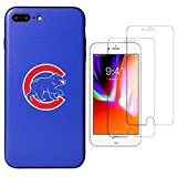 "Sportula MLB Phone Case Matching 2 Premium Screen Protectors Extra Value Set - for iPhone 7 Plus/iPhone 8 Plus (5.5"") (Chicago Cubs)"