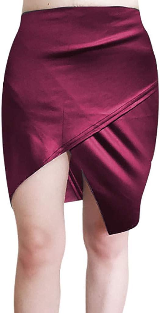 beautyjourney Falda de Cadera Bodycon Dividida Sexy para Mujer Falda Corta de Cuero PU Informal Falda Lápiz Slim Fit Faldas Skater de Color Liso