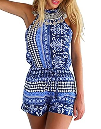 Ayliss Women's Sexy Cut Out Back Bohemian Casual Loose Romper Playsuit,Blue XL