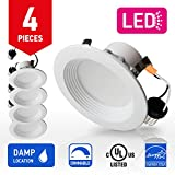 OSTWIN 4-inch LED Downlight Round RETROFIT KIT Recessed Ceiling Lighting Fixture, Baffle Trim, 10.5W (60W Replacement), Dimmable, 5000K (Daylight), 700 Lumens, (4 Pack) UL and ENERGY STAR listed