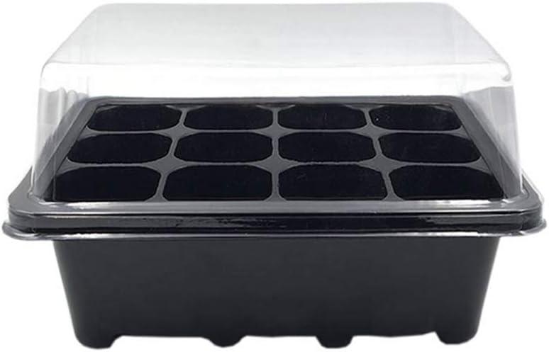 3 Unids / set 12 Agujeros Bandeja de plántulas Semillas de plástico reutilizables Brote Caja negra Herramientas de jardín Accesorios Bandeja de plántula Placas Viveros Macetas Arrancador de semillas