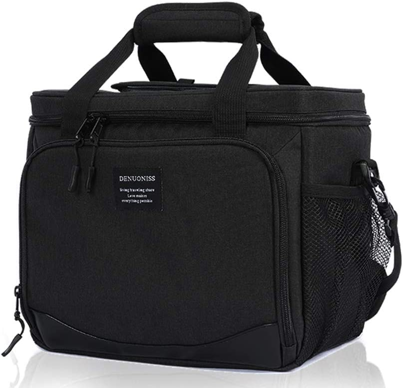 Bento bag with bottle opener/lunch bag/thermal cooler, top opening waterproof and leakproof, portable and reusable, can hold 16 cans for office, school, picnic, beach, camping, party, travel (Black)