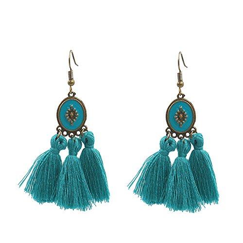 Bohemian Silk Fringe Earring Short Tassel Statement Earrings (Blue) by BNQL