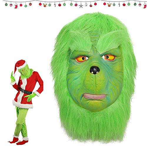 XIAOMOGU Grinch Mask, Cosplay Grinch Mask Melting Face Latex Costume Collectible Prop Scary Mask Toy