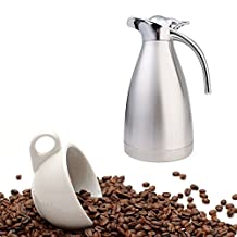Home Vacuum Insulation Coffee Pot Capacity Stainless Steel Double-Wall Coffee Pot Thermal Carafe Insulation Jug Flask / Tea Pot/ Water Pitcher with Press Button (silver, 2.0L)