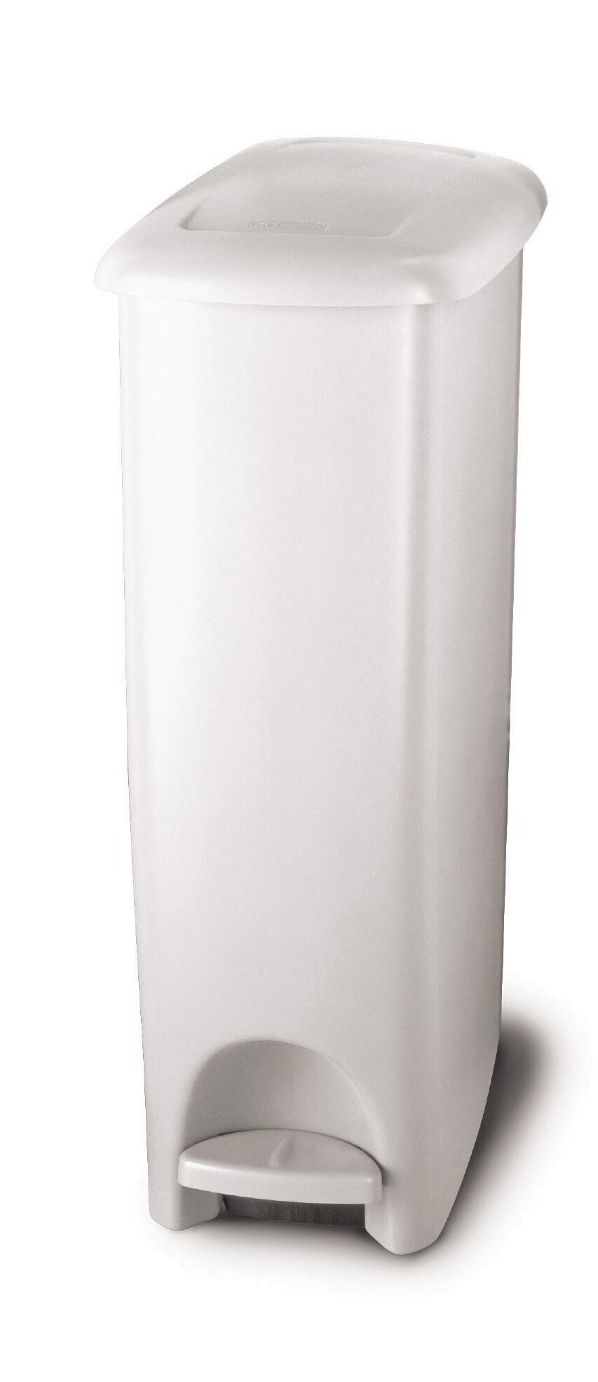 Rubbermaid Step On Lid Slim Trash Can for Home, Kitchen, and Bathroom Garbage, 11.25 Gallon, White by Rubbermaid