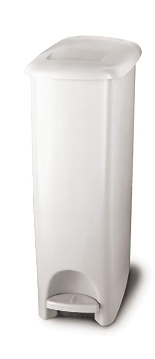 Rubbermaid Step-On Lid Slim Trash Can for Home, Kitchen, and Bathroom Garbage 11.25 Gallon White