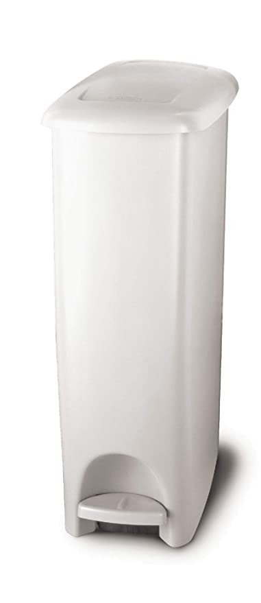 603bb44b08c0 Rubbermaid Step-On Lid Slim Trash Can for Home, Kitchen, and Bathroom  Garbage, 11.25 Gallon, White