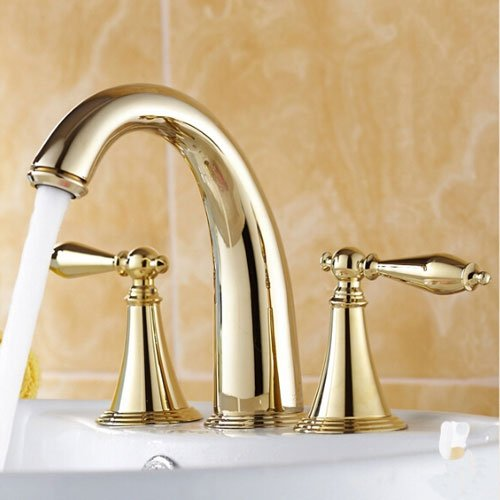 Wovier Gold Polished Waterfall Bathroom Sink Faucet With Drain,Two Handle Three Hole Lavatory Faucet,Widespread Basin Mixer Tap With Pop Up Drain,8 Inch Bathroom Faucet by Wovier (Image #2)