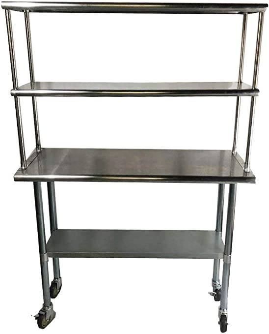 NSF KPS Stainless Steel Double Overshelf for Prep Work Table 12 x 30
