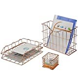 hanging tray - Superbpag Wire Metal 4 in 1 Desk Organizer Set- Stick Note Holder, Hanging File Organizer and 2 Letter Trays