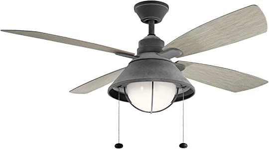Kichler 310181WZC Seaside 54 Outdoor Ceiling Fan with LED Light, Weathered Zinc