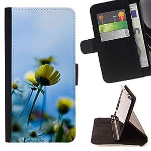 For Samsung Galaxy J1 J100 Case , Azul Amarillo Sol Campo de Verano- la tarjeta de Crédito Slots PU Funda de cuero Monedero caso cubierta de piel