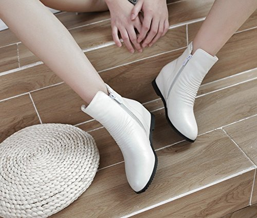 Height QZUnique Zipper Heel Women Martin Increased Booties Toe White Hidden Boots Round Casual Ankle aqvprZwXq