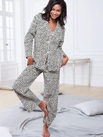 Victorias Secret the Dreamer Flannel Leopard Print Pajama Set Size L