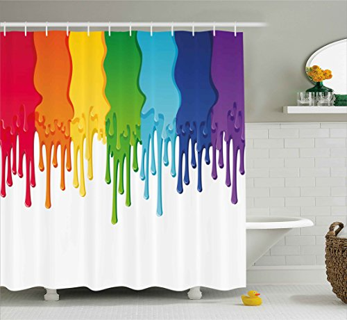 Ambesonne Abstract Shower Curtain, Rainbow Colored Paint with Leaking Splattered Drops Creative Artsy Graphic Design, Fabric Bathroom Decor Set with Hooks, 84 Inches Extra Long, Rainbow Colors
