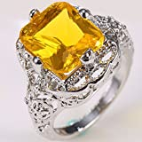 Sumanee Fashion 925 Silver 1.65CT Citrine Ring Men Women Anniversary Party Jewelry Gifts (8)