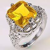 Fashion Women 925 Silver Citrine Gemstone Ring Wedding Bridal Jewelry Size 6-10 (7)