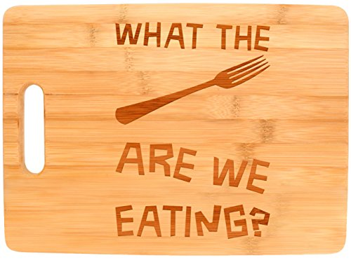 Funny Chef Gifts What the Fork Are We Eating Funny Gag Gift Kitchen Big Rectangle Bamboo Cutting Board