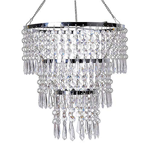 FlavorThings 3 Tiers Fuax Crystal Acrylic Beaded Chandelier,Diam10.5