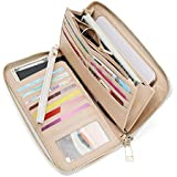 WOZEAH Women's RFID Blocking PU Leather Zip Around Wallet Clutch Large Travel Purse (A creamy white)