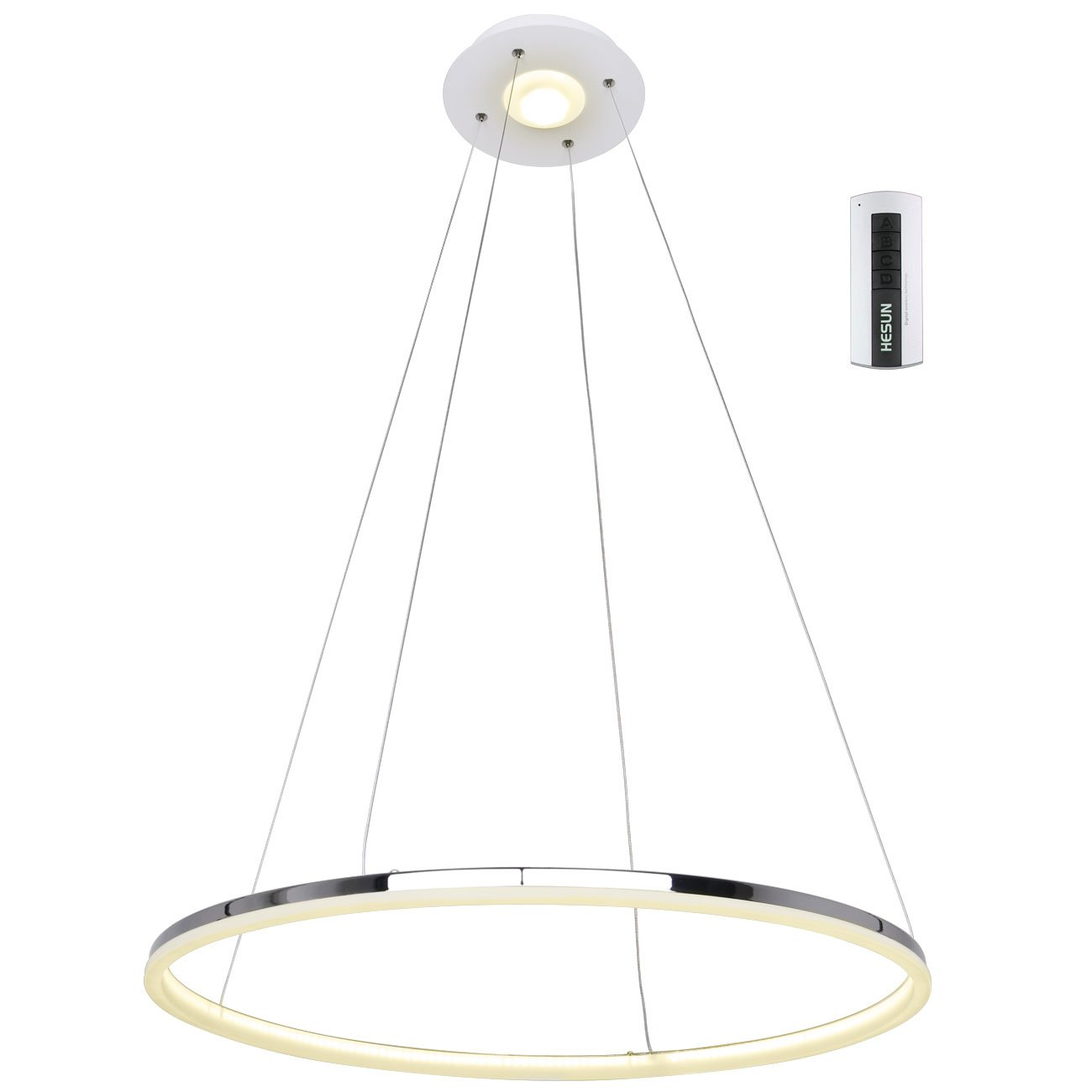 UNITARY BRAND Modern Warm White LED Acrylic Pendant Light Remote Control Included With 1 Ring Max 35W Chrome Finish 24 inches Diameter