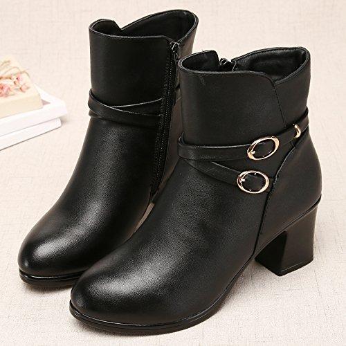 noir B Shukun Bottes Bottes des mères Bottes d'hiver des Femmes épaisses avec épaissie avec des Bottes Martin Chaussures pour Femmes Chaussures en Coton Chaussures d'Âge Moyen
