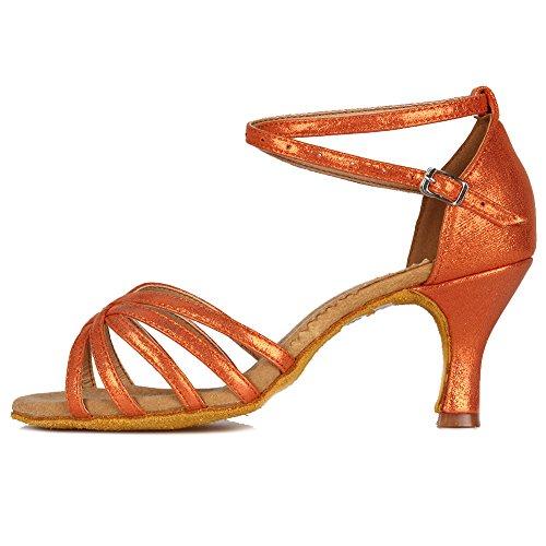 - HROYL Women's Leather Latin Dance Shoes Ballroom Salsa/Tango/Chacha Performance Shoes Model-MF18106 Orange 7.5 B(M) US