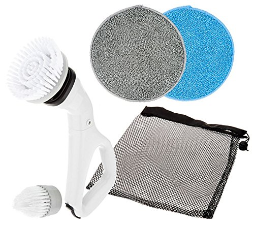 HY-C CPSWHT Compact Electric Power Spin Scrubber with 4 Brushes for Cleaning Bathrooms, Kitchens, Counter Tops, Tile & Outdoors