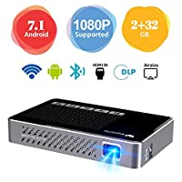 Mini Projector WOWOTO A5 Pro Android 7.1 100ANSI 2+32G Portable DLP Video Projector 150″ Home Theater Projectors with BT4.0 Support WiFi Wireless Screen Share 1080P HDMI USB SD Card