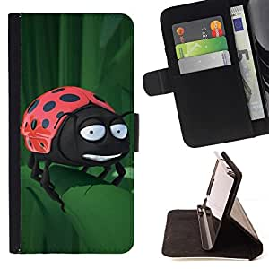 For HTC Desire 626 626w 626d 626g 626G dual sim Case , Divertido Mariquita En La Hoja- la tarjeta de Crédito Slots PU Funda de cuero Monedero caso cubierta de piel