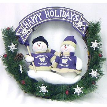 (NCAA Snowman Christmas Wreath NCAA Team: Washington)