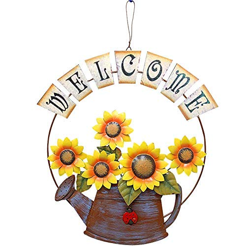 Garden Themed Sunflower Welcome Sign, Vintage Metal Sunflower and Watering Can Design Welcome Door Sign for Front Door 15.5X14, Hanging Welcome Wall Plaque Home Garden Decor