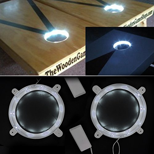 SOLOMONE CAVALLI Set of 2 Cornhole Night Light Dadhole Corn Hole Bean Bag Toss Board White