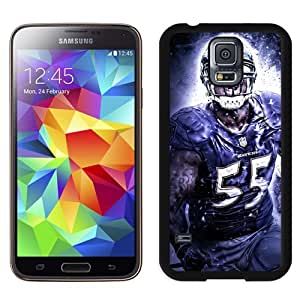 Customized Design Samsung Galaxy S5 Case with American Football Player Terrell Suggs Number-55 02 Samsung Galaxy S5 I9600 G900a G900v G900p G900t G900w Protective Skin Cover Case Black White