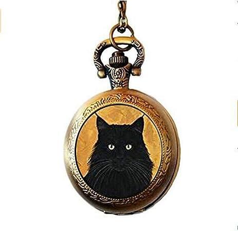 Reloj de bolsillo para gatos, collar para reloj de gato, bonito regalo para amantes de los gatos, color negro: Amazon.es: Hogar