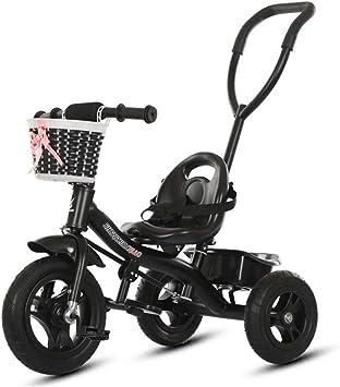 Hejok Bicicleta Triciclo, Triciclos para NiñOs NiñAs Empujar/Pedalear Triciclo para NiñOs Bebé Infantil 3 Ruedas Bicicleta De Paseo con Dosel Y Canasta, Black: Amazon.es: Deportes y aire libre