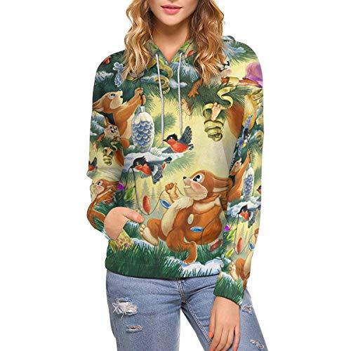 Squirrel Womens Long Sleeve - InterestPrint Women's Hoodies Christmas Squirrel Long Sleeve Pocket M