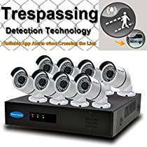 OWLTECH 8 Channel Trespassing Detection NVR support up to 5MP Resolution + 8 x 4MP 3.6mm IP Bullet Camera with Smart IR + WDR + POE + Mic Built in + 2TB HDD + 100ft cable and accessories