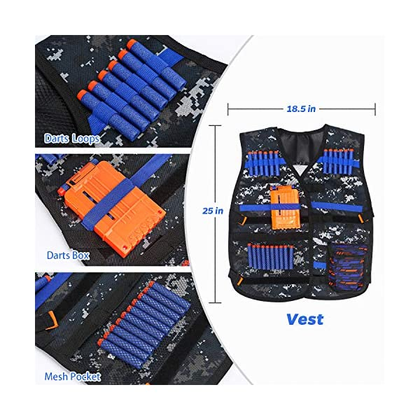 Kids-Tactical-Vest-Kit-for-Nerf-Guns-Series-with-Refill-DartsDart-Pouch-Reload-Clips