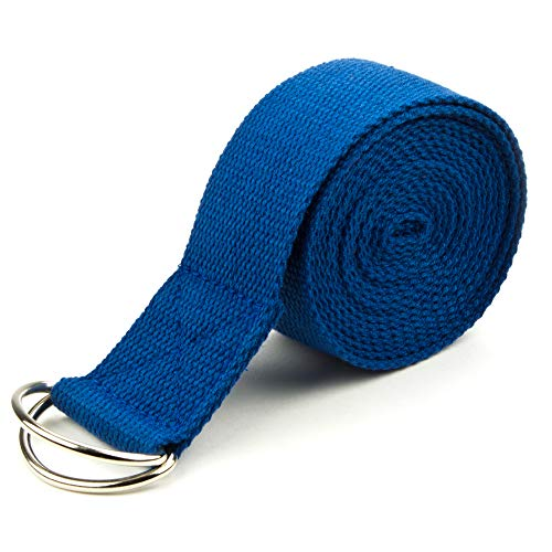 Crown Sporting Goods SYOG-453 Yoga Strap with Metal D-Ring, Cotton, Extra-Long, 10-Foot, Blue