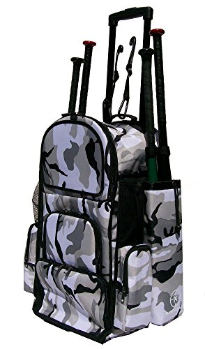 New Design Vista CTR in Gray Camouflage Softball Baseball Bat Equipment Roller Backpack with Innovative Removable Bat Sleeves, Embroidery Patch and Pull out Handle by MAXOPS