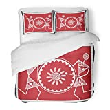 SanChic Duvet Cover Set Red African Indian Tribal Paintings Warli Celebration Abstract Africa Decorative Bedding Set 2 Pillow Shams King Size